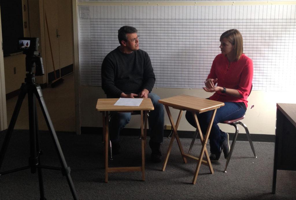 Evan Gardner assessing Robyn Giffen's chinuk fluency