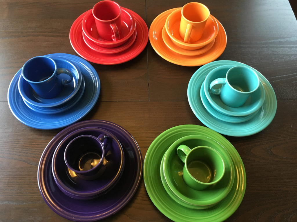 Color-coded Dinnerware at the WAYK House