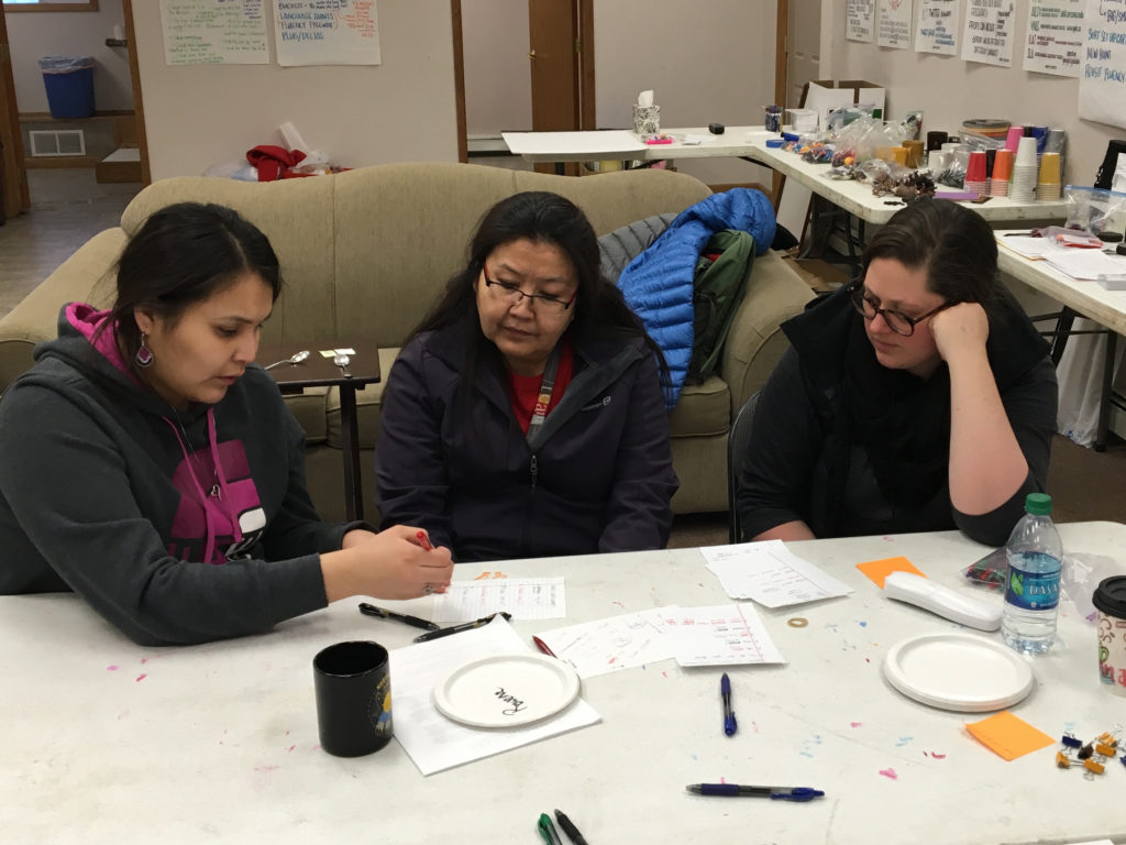Shanice, Rowena, and Susanna Working on Upper Tanana